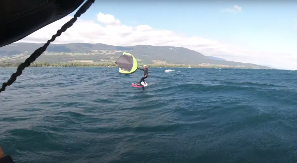 Balz Müller Wing Foil on the Swiss lake swell.