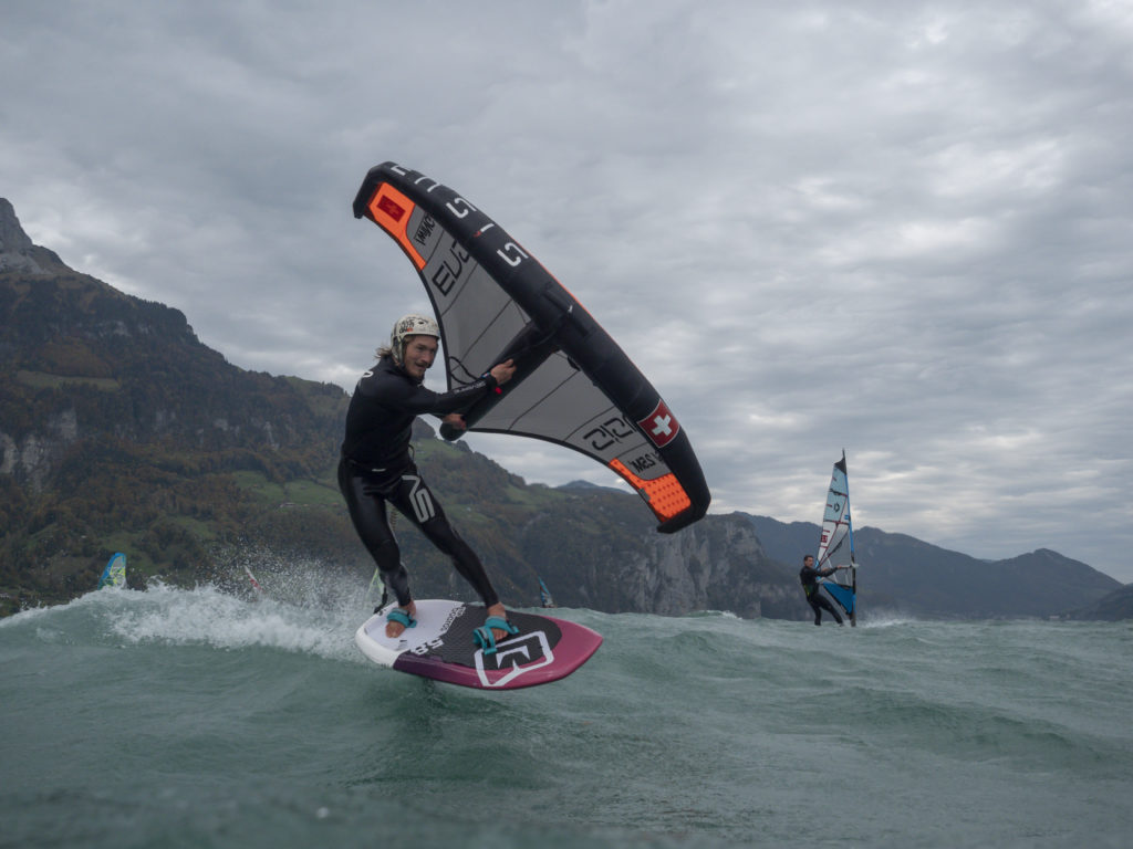 Balz Müller with his light wind wing foiling tips