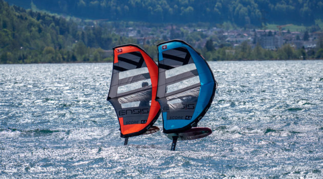 ENSIS SCORE Wing new Wing from ENSIS with windows and in blue and red for wing foil like Balz Müller or Balz Muller